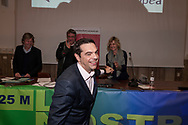 ROME, ITALY - MARCH 23: Greek Prime Minister Alexis Tsipras participates in the meeting 'Transform Europe' held at University La Sapienza on March 23, 2017 in Rome, Italy. Members of the radical left various parties and associations attended the university courtroom to hear the Greek Prime Minister.