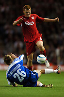 John Arne Riise Liverpool/Gernot Plassnegger Grazer A.K<br />Liverpool V Grazer AK 24/08/04<br />UEFA Champions League Qualifier 3rd Round 2nd Leg Anfield<br />Photo Robin Parker Fotosports International