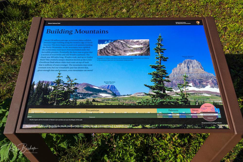 Interpretive sign at Logan Pass, Glacier National Park, Montana USA