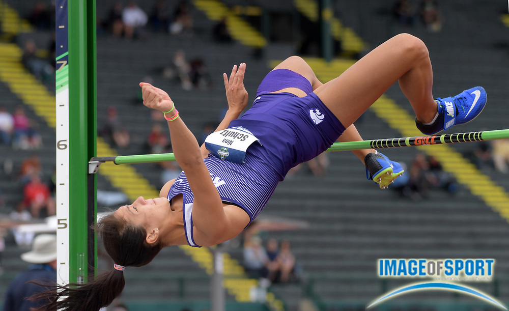 Jun 8, 2018; Eugene, OR, USA; Nina Schultz of Kansas State clears 5-8 3/4 (1.75m) in the heptathlon high jump during the NCAA Track and Field championships at Hayward Field.