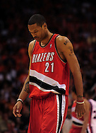 Apr 18, 2010; Phoenix, AZ, USA; Portland Trailblazers forward Marcus Camby (21) during the first half in game one in the first round of the 2010 NBA playoffs at the US Airways Arena.  The Trail Blazers defeated the Suns 105-100.  Mandatory Credit: Jennifer Stewart-US PRESSWIRE