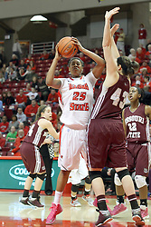 03 March 2013:  Janae Smith against Aly Stock during an NCAA Missouri Valley Conference (MVC) women's basketball game between the Missouri State Bears and the Illinois Sate Redbirds at Redbird Arena in Normal IL
