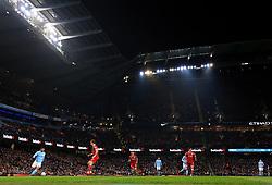 A general view of the Etihad Stadium as Sergio Aguero of Manchester City attacks - Mandatory by-line: Matt McNulty/JMP - 09/01/2018 - FOOTBALL - Etihad Stadium - Manchester, England - Manchester City v Bristol City - Carabao Cup Semi-Final First Leg
