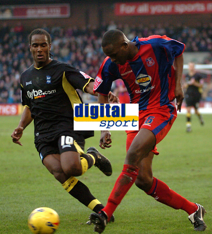Photo: Tony Oudot.<br />Crystal Palace v Birmingham City. Coca Cola Championship. 17/02/2007.<br />Leon Cort of Crystal Palace gets in a shot past Cameron Jerome of Birmingham City