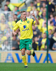 NORWICH, ENGLAND - Saturday, September 29, 2012: Norwich City's Steve Morison celebrates scoring the first goal against Liverpool during the Premiership match at Carrow Road. (Pic by David Rawcliffe/Propaganda)