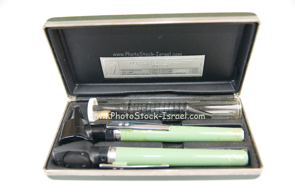 Cutout of an Otoscope set on white background