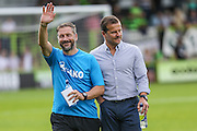 Forest Green Rovers assistant manager, Scott Lindsey & Forest Green Rovers manager, Mark Cooper during the Vanarama National League match between Forest Green Rovers and Gateshead at the New Lawn, Forest Green, United Kingdom on 13 August 2016. Photo by Shane Healey.