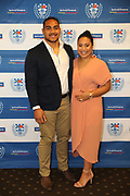 Ofa Tu'ungafasi and partner Emma during the Auckland Rugby awards night held at Eden Park on the 25th of October 2017. <br /> Credit; Peter Meecham/ www.photosport.nz