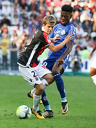 Vincent Koziello (L) Nice in duel with Nuna Da Costa Strasbourg during the match of League 1 at the Allianz Riviera Stadium in Nice in France on October 22nd, 2017. Nice defeated against Strasbourg 1-2  (Credit Image: © Serge Haouzi/Xinhua via ZUMA Wire)