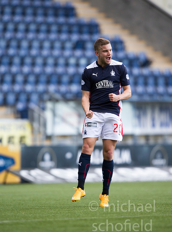 Falkirk's Alex Cooper cele scoring their third goal.<br /> Half time : Falkirk 4 v 0 Cowdenbeath, Scottish Championship game played at The Falkirk Stadium, 25/10/2014.