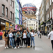(L-R) Besma Whayeb, Jack Macdonald, Amy Purssey, Michele Clarke, Tyrone Wood, Carolina Overmeer, Carolina Overmeer, Jo Wood, Jake Morant, Mary Charteris, Luis Felber, Pixie Geldof, Will Poulter and Annie Dobler for  World Ocean Day - Project 0 Ambassadors unveil One Ocean One Planet on Carnaby Street, on 4 June 2019, London, UK.