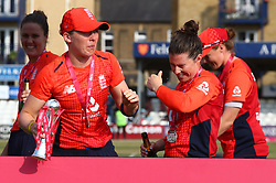 July 1, 2018 - London, Greater London, United Kingdom - Heather Knight of England Women gets Champagne in her eyes .After International Twenty20 Final match between England Women and New Zealand Women  at The Cloudfm County Ground, Chelmsford, England on 01 July 2018. (Credit Image: © Kieran Galvin/NurPhoto via ZUMA Press)