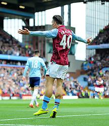 Aston Villa's Jack Grealish celebrates after playing his part in the opening goal for Aston Villa  - Photo mandatory by-line: Joe Meredith/JMP - Mobile: 07966 386802 - 09/05/2015 - SPORT - Football - Birmingham - Villa Park - Aston Villa v West Ham United - Barclays Premier League