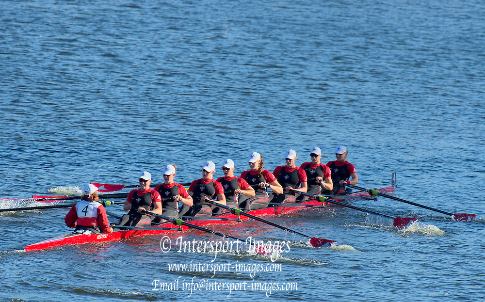 Cambridge. MA. USA. <br /> Championships Women's Eights. <br /> London Training Centre, CANADA, crew  Olympic and WRC medalist, move way from the Eliot Bridge, during the 49th edition of the Head of the Charles.<br /> <br /> <br /> 15:21:18  Sunday  20/10/2013  <br /> <br /> [Mandatory Credit. Peter SPURRIER /Intersport Images]<br /> <br /> Orientation: Landscape