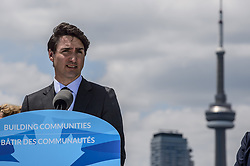 June 28 2017 - Toronto, Canada - Canadian Prime Minister JUSTIN TRUDEAU joined Ontario Premier Kathleen Wynne, and Toronto Mayor John Tory, were at Polson Pier in Toronto to announce a new project to develop The Dock Lands into a large mixed use project with a large green space as its key feature. (Credit Image: © Victor Biro via ZUMA Wire)
