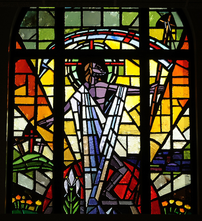 Stained glass image of risen Christ from Allouez Catholic Cemetery. (Sam Lucero photo)