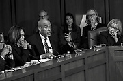 WASHINGTON, DC (April 10, 2018) -- U.S. Senator Cory Booker of New Jersey takes a turn at questions towards Facebook founder and Chief Executive Officer Mark Zuckerberg during testimony before Congress, on hearings lead by reports that Cambridge Analytica, a British political consulting firm linked to the Trump campaign, harvested data from 87 million Facebook users.  Photo by Johnny Bivera