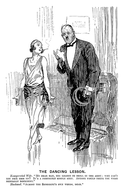 "The Dancing Lesson. Exasperated wife. ""My dear man, you learnt to drill in the army; why can't you pick this up? It's a perfectly simple step. Anyone would think you were mentally deficient."" Husband. ""Almost the sergeant's own words, dear."""