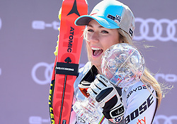 14.03.2019, Soldeu, AND, FIS Weltcup Ski Alpin, SuperG, Damen, Siegerehrung, Weltcupwertung, im Bild Mikaela Shiffrin (USA, Siegerin Slalom, Riesenslalom, Super G und Gesamteltcup) // Mikaela Shiffrin (USA, Winner Slalom, Riesenslalom, SuperG Worldcup and Winner Alloverworldcup) during the winner ceremony for the ladie's Super-G Worldcup rating of FIS Ski Alpine World Cup finals. Soldeu, Andorra on 2019/03/14. EXPA Pictures © 2019, PhotoCredit: EXPA/ Erich Spiess