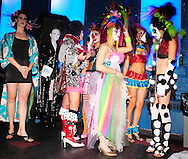 PHILADELPHIA - NOVEMBER 12: Stylists in costume prepare to walk the catwalk during Hairball 9 at Shampoo Niteclub November 12, 2005 in Philadelphia, Pennsylvania. Hairball, which is the East Coast's largest annual hair design competition featured models sporting outrageous themed hair designs and parade the catwalk. All proceeds from the event will benefit cancer and HIV/AIDS research and treatment at the world-renowned City of Hope National Medical Center and Beckman Research Institute. (Photo by William Thomas Cain/photodx.com)
