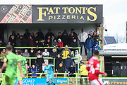 Fat Toni's Ad board during the EFL Sky Bet League 2 match between Forest Green Rovers and Walsall at the New Lawn, Forest Green, United Kingdom on 8 February 2020.
