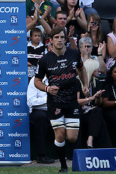 Keegan Daniel of The Sharks runs out for his 50th Super Rugby match during the Super15 match between The Mr Price Sharks and The Blues held at Mr Price Kings Park Stadium in Durban on the 26th February 2011..Photo By:  Ron Gaunt/SPORTZPICS