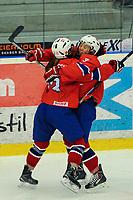 BILDET INNGÅR IKEK I FASTAVTALER. ALL NEDLASTING BLIR FAKTURERT.<br /> <br /> Ishockey<br /> VM kvinner<br /> Norge<br /> Foto: imago/Digitalsport<br /> NORWAY ONLY<br /> <br /> DK, IIHF WW DivIA 2016, Norwegen (NOR) vs Slowakei (SVK) 31.03.2016, Gigantium Arena, Aalborg, DK, IIHF WW DivIA 2016, Norwegen (NOR) vs Slowakei (SVK), im Bild Martine HENRIKSEN ( 13, NOR) und Linn AAKRE ( 3, NOR) jubeln nach dem Tor zum 4:3 in Overtime