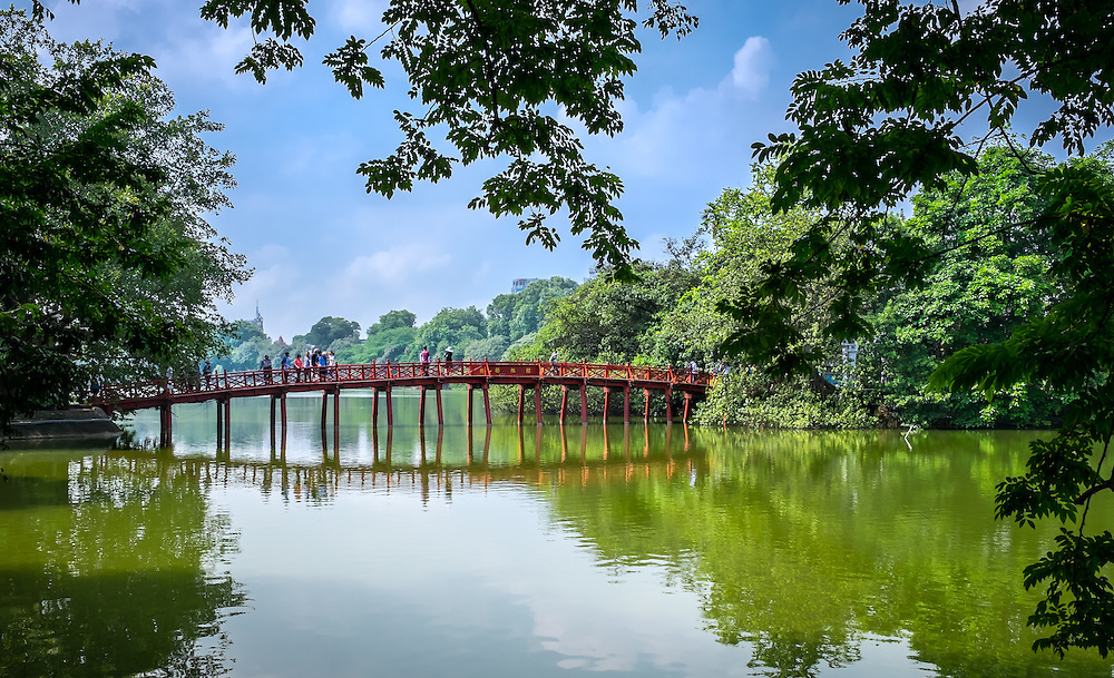 HANOI, VIETNAM - CIRCA SEPTEMBER 2014: View of the Huc Bridge, a famous landmark over the Hoan Kiem Lake, in Hanoi.