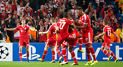 MANCHESTER, ENGLAND - Wednesday, October 2, 2013: Bayern Munich's Thomas Mullers celebrates scoring the second goal against Manchester City during the UEFA Champions League Group D match at the City of Manchester Stadium. (Pic by David Rawcliffe/Propaganda)