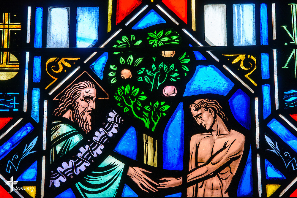 Stained glass at Luther Memorial Chapel depicts the breath of life, Genesis 2:7, on Friday, Jan. 29, 2016, in Shorewood, Wis. LCMS Communications/Erik M. Lunsford