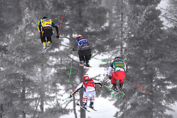 14.01.2018, Idre Fjall, Idre, SWE, FIS Weltcup Ski Cross, Idre Fjall, im Bild Victor Öhling Norberg, Jonas Devouassoux, Alex Fiva and Adam Kappacher // during the FIS Ski Cross World Cup at the Idre Fjall in Idre, Sweden on 2018/01/14. EXPA Pictures © 2018, PhotoCredit: EXPA/ Nisse Schmidt<br /> <br /> *****ATTENTION - OUT of SWE*****