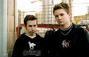 Two Moody Nu metal teenagers standing in Camden Town, London, UK 2001
