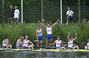 © Intersport Images <br /> email info@Intersport-images.com<br /> [Mandatory Credit;Peter Spurrier/Intersport Images]<br /> <br /> Photo Peter Spurrier<br /> Junior World Rowing Championships 2001<br /> 6  - 11th August 2001<br /> Regattabahn Duisburg -Wedau.<br /> Sat 11th Aug - Finals<br /> GBR Junior men's eight celebrate [Tom JAMES, Standing] after getting the decision of the photo finish for the bronze medal. 20010808 FISA Junior World Rowing Championships, Duisburg. Germany