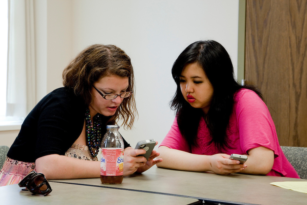 Kara Kauffman talks to Yinjiao Gong during a walk in advising session at the Walter International Education Center