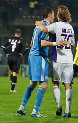20.10.2011, UPC Arena, Graz, AUT, UEFA Europa League, Sturm Graz (AUT) vs RSC Anderlecht (BEL), im Bild Jubel bei Guillaume Gillet (RSC Anderlecht, Defense, #30) und Silvio Proto (RSC Anderlecht, Goalkeeper, #1) nach dem Schlusspfiff und Enttaeuschung bei Mario Haas (SK Sturm Graz, #7, Offense) // during UEFA Europa League football game between Sturm Graz (AUT) and RSC Anderlecht (BEL) at UPC Arena in Graz, Austria on 20/10/2011. EXPA Pictures © 2011, PhotoCredit: EXPA/ E. Scheriau