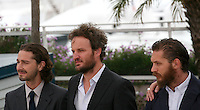 Shia Labeouf, Jason Clarke, Tom Hardy,  at the Lawless film photocall at the 65th Cannes Film Festival. The screenplay for the film Lawless was written by Nick Cave and Directed by John Hillcoat. Saturday 19th May 2012 in Cannes Film Festival, France.