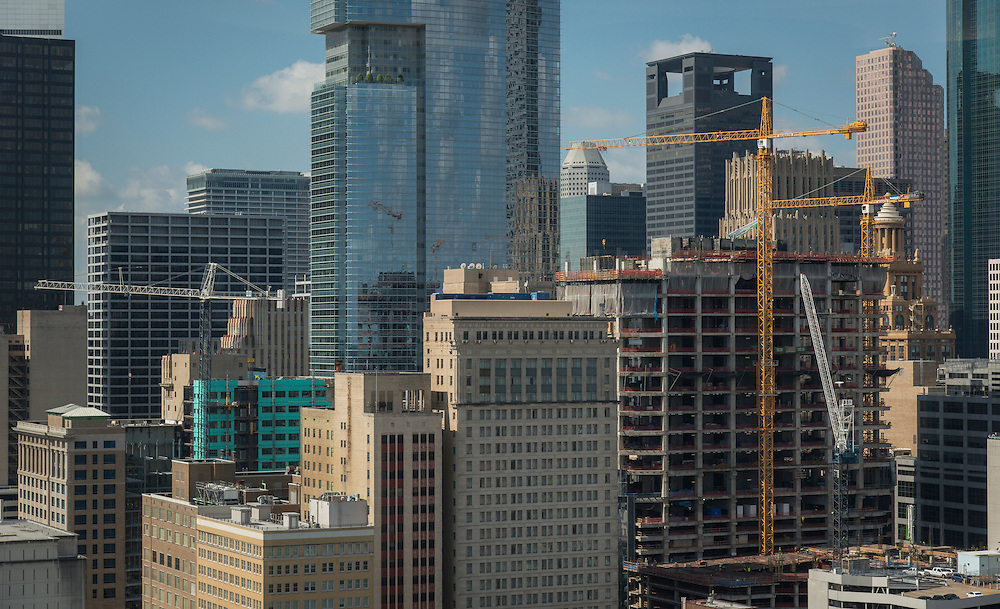 Cranes dot the Houston skyline, September 30, 2015.