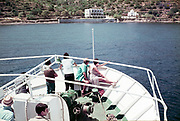 Holiday in Kos, Greece 1970s people boat trip