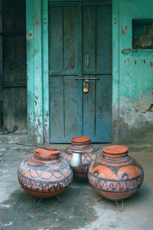Terracotta and clay pots are used for the storage of water as the slow evaporation through the porous clay helps in eliminating the surrounding heat and thus keeps the water cool even in the hottest season.