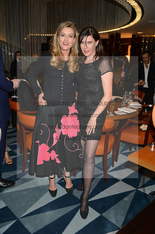 Left to right, NATASHA McELHONE and RONNI ANCONA at a dinner hosted by AA Gill & Nicola Formby in support of the Borne charity held at Rivea at the Bulgari Hotel, Knightsbridge, London on 3rd February 2015.