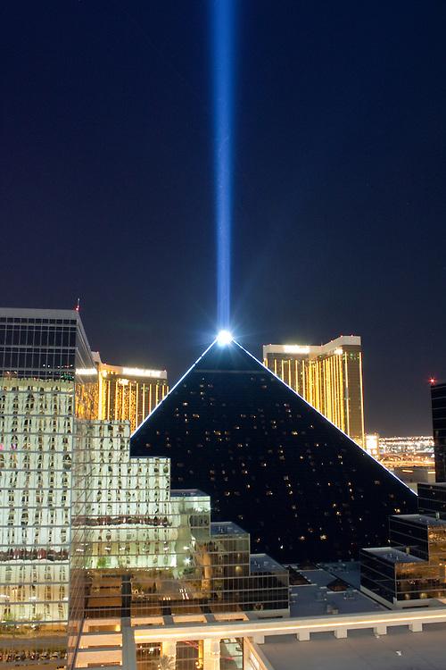 Laser beam emanates from the peak of the Luxor Hotel pyramid Las Vegas