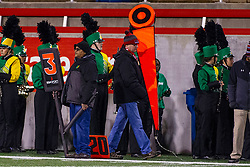 11 October 2019: Down Marker sideline official got rolled by a mass of players and didn't get the box laid on the ground quick enough resulting in a broken stick. Glenwood Titans at University High Pioneers boys football, Normal Illinois
