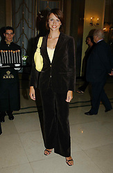 "TV presenter BEVERLEY TURNER at a party to celebrate the publication of Bruce Oldfield's autobiography ""Rootless"" held in aid of Crimestoppers at Claridge's, Brook Street, London W1 on 22nd September 2004.<br />