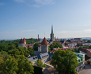 A wide angle photo overlooking the city center of Tallin, Estonia on a summer day.