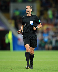 Referee Mark Geiger during the FIFA World Cup 2018, round of 16 match at the Spartak Stadium, Moscow. PRESS ASSOCIATION Photo. Picture date: Tuesday July 3, 2018. See PA story WORLDCUP England. Photo credit should read: Adam Davy/PA Wire. RESTRICTIONS: Editorial use only. No commercial use. No use with any unofficial 3rd party logos. No manipulation of images. No video emulation