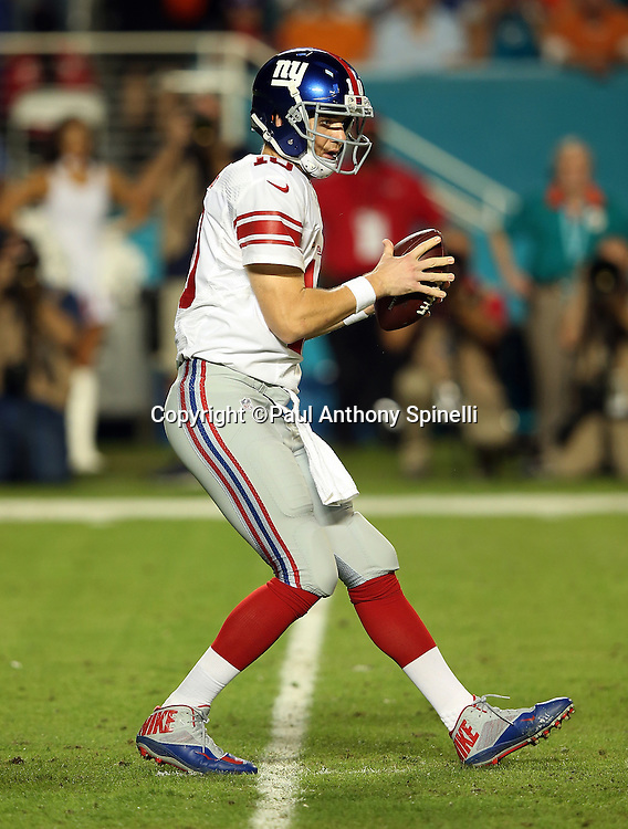 New York Giants quarterback Eli Manning (10) catches the snap in the shotgun formation during the NFL week 14 regular season football game against the Miami Dolphins on Monday, Dec. 14, 2015 in Miami Gardens, Fla. The Giants won the game 31-24. (©Paul Anthony Spinelli)