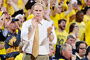 ANN ARBOR, MI - FEBRUARY 5: Head coach John Beilein of the Michigan Wolverines applauds his team against the Ohio State Buckeyes during the game at Crisler Center in Ann Arbor, Michigan on February 5. Michigan won 76-74. (Photo by Joe Robbins)