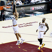 09 June 2017: Cleveland Cavaliers forward Richard Jefferson (24) goes for the dunk during the Cleveland Cavaliers 137-11 victory over the Golden State Warriors, in game 4 of the 2017 NBA Finals, at  the Quicken Loans Arena, Cleveland, Ohio, USA.