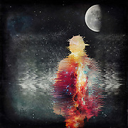 Photo manipulation with stars, moon and the silhouette of a man