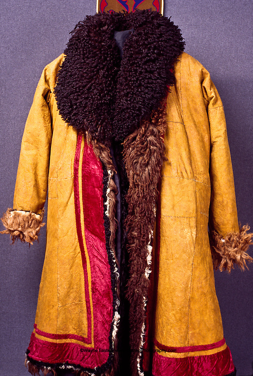 Sensen Ton (man's fur coat).  Early 20th century.  Sheepskin coat lined with fur, colored with pomegranate aril.  Mangyshlak, western Kazakhstan.  Central State Museum, Almaty